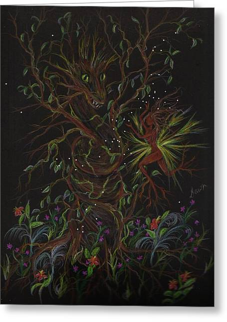 Greeting Card featuring the drawing Dryad Brings News by Dawn Fairies