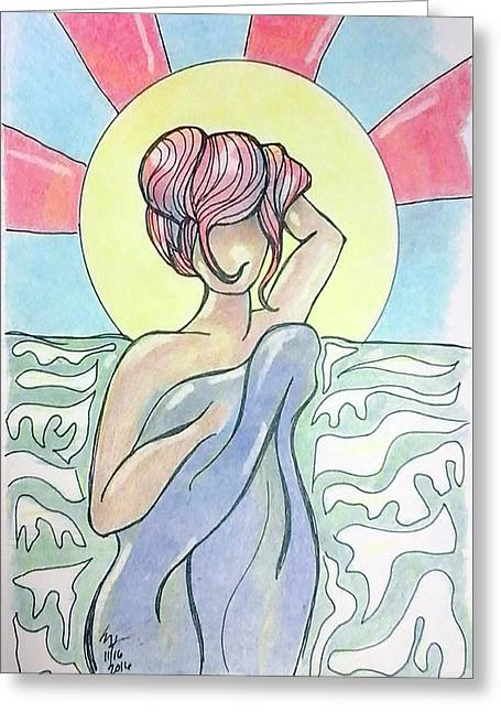 Drying Off From A Swim Greeting Card by Loretta Nash