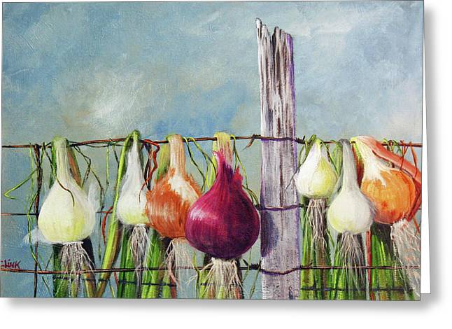 Drying Onions Greeting Card
