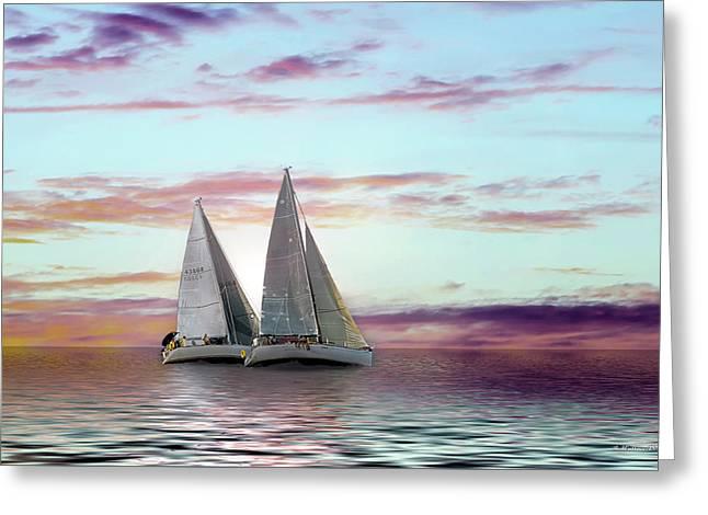 Dual Sailboats - Paint Fx Greeting Card