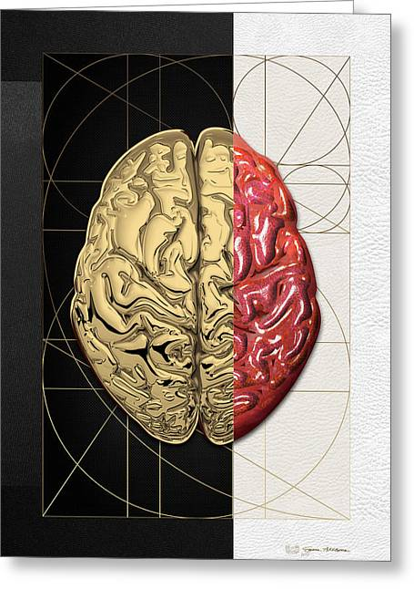 Greeting Card featuring the digital art Dualities - Half-gold Human Brain On Black And White Canvas by Serge Averbukh