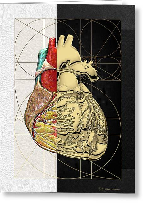 Greeting Card featuring the digital art Dualities - Half-gold Human Heart On Black And White Canvas by Serge Averbukh