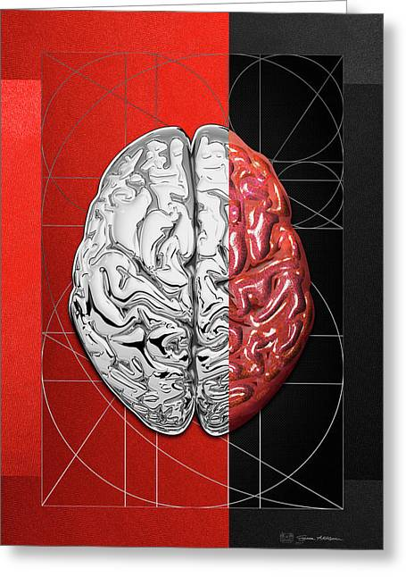 Greeting Card featuring the digital art Dualities - Half-silver Human Brain On Red And Black Canvas by Serge Averbukh