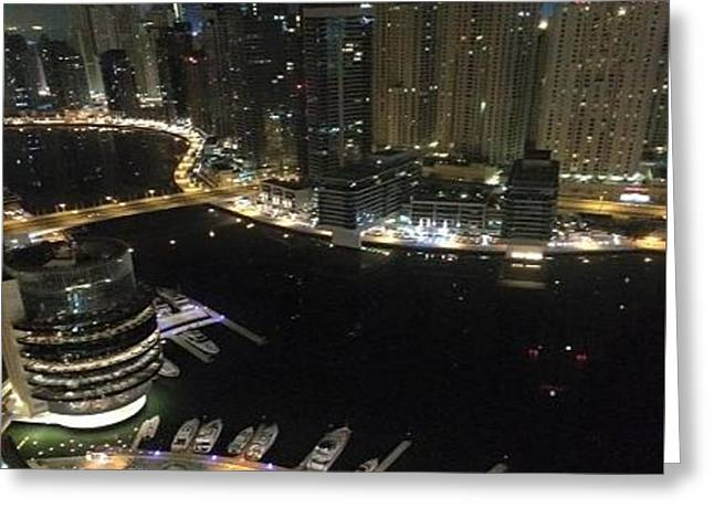 Dubai Marina At Night  Greeting Card by Petra Picelli