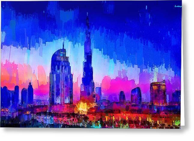 Dubai Skyline 100 - Da Greeting Card by Leonardo Digenio