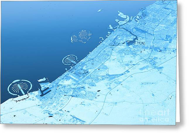 Dubai Topographic Map 3d Landscape View Blue Color Greeting Card by Frank Ramspott