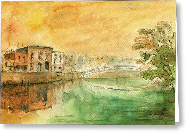 Dublin Ha'penny Bridge Painting Greeting Card