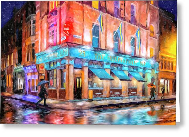 Greeting Card featuring the painting Dublin In The Rain by Mark Tisdale