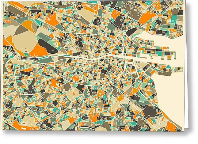 Dublin Map Greeting Card by Jazzberry Blue
