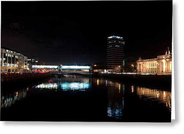 Dublin Quays By Night Greeting Card by Joe Houghton
