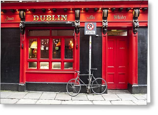 Dublin Red Pub Greeting Card by Rae Tucker