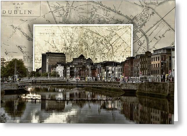 Dublin Skyline Mapped Greeting Card