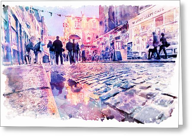 Dublin Watercolor Streetscape Greeting Card