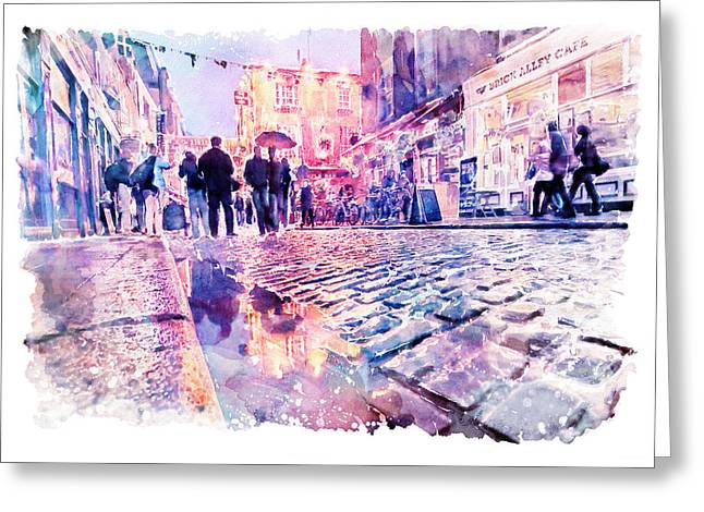 Dublin Watercolor Streetscape Greeting Card by Marian Voicu