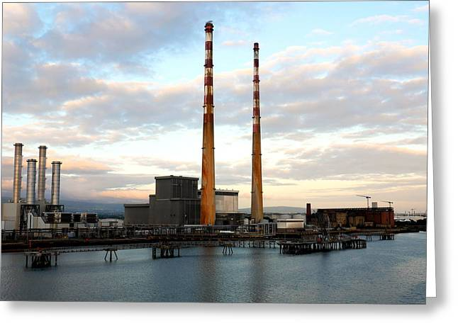 Dublin's Poolbeg Chimneys Greeting Card by Lexa Harpell