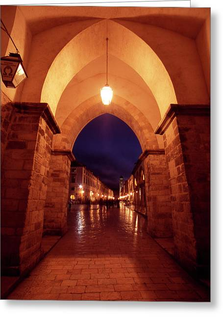 Night Lamp Greeting Cards - Dubrovnik at Night Greeting Card by Steve Outram