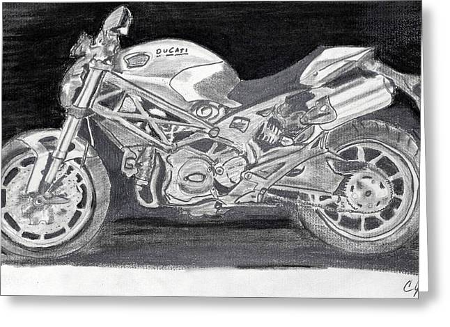 Ducati Greeting Card by Cathy Jourdan