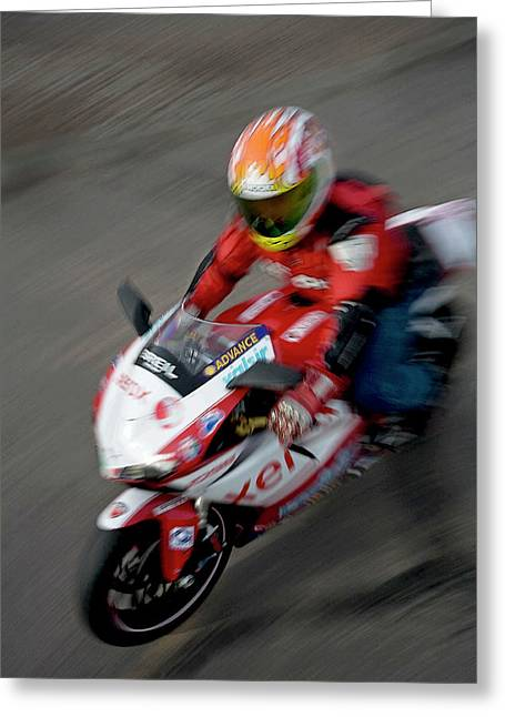 Superbikes Greeting Cards - Ducati Greeting Card by Glennis Siverson