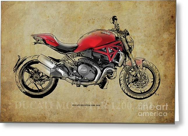 Ducati Monster 1200, 2014, Red Motorcycle, Gift For Husband, Gift For Bikers Greeting Card by Pablo Franchi