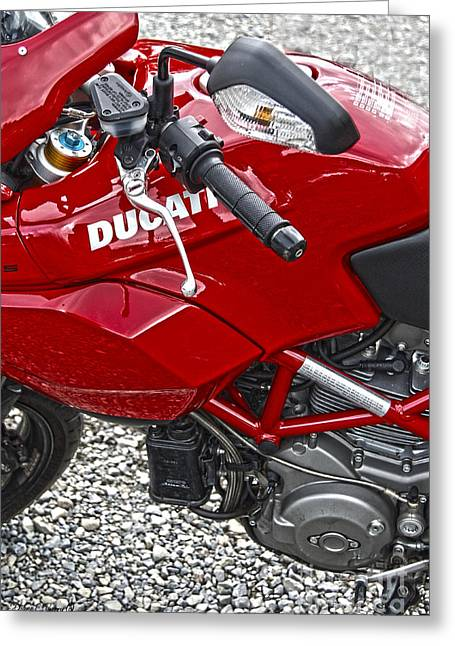 Ducati Red Greeting Card by Diane E Berry