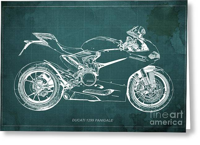 Ducati Superbike 1299 Panigale 2015, Gift For Men, Green Background Greeting Card