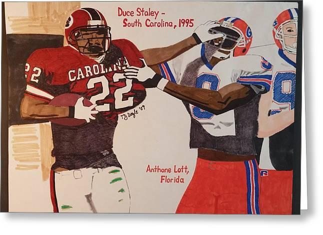 Duce Staley - South Carolina Greeting Card by TJ Doyle
