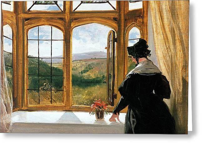 Duchess Greeting Cards - Duchess of Abercorn looking out of a window Greeting Card by Sir Edwin Landseer
