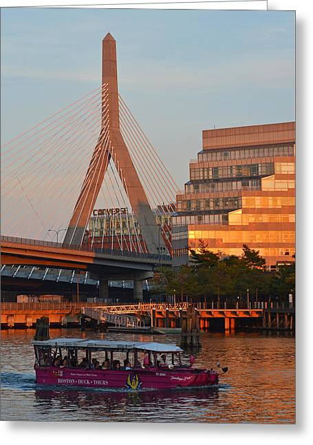 Duck Boat In Front The Lenny Zakim Bridge Boston Ma Greeting Card by Toby McGuire