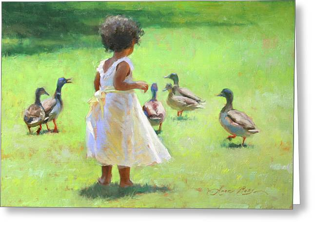 Duck Chase Greeting Card by Anna Rose Bain