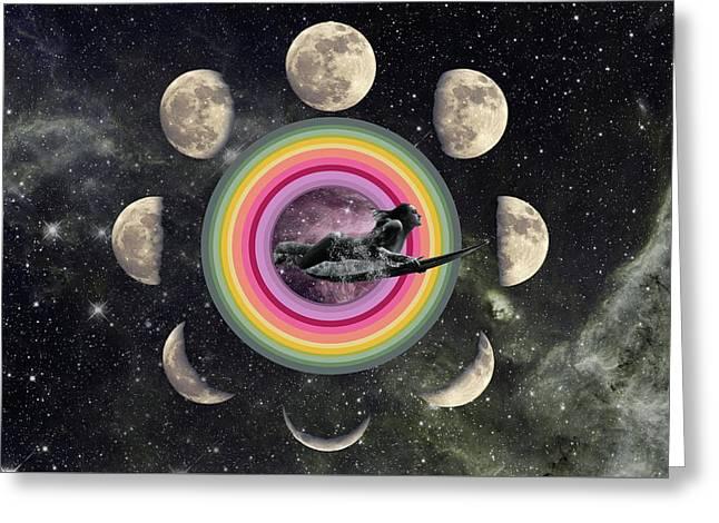 Duck Dive Through Cosmic Portal Moonphase  Greeting Card by Lori Menna