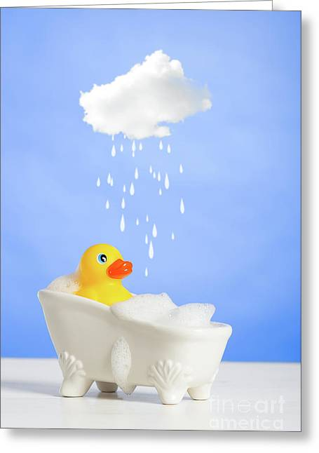 Duck Having A Bath Greeting Card