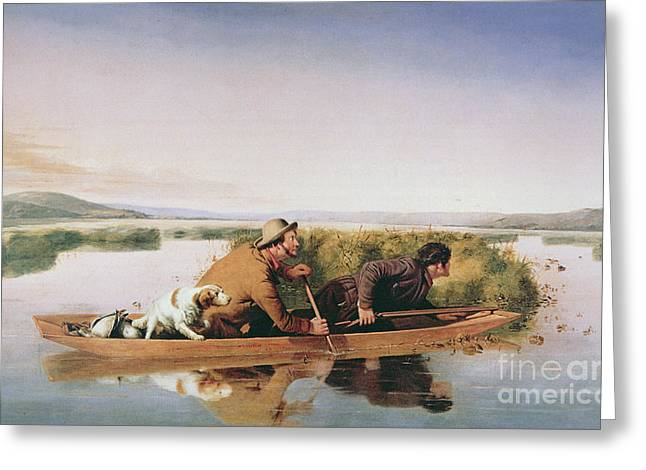 Duck Hunters On The Hoboken Marshes, New Jersey, 1849 Greeting Card