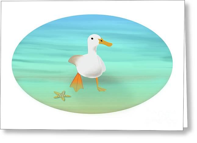Duck Paddling At The Seaside Greeting Card