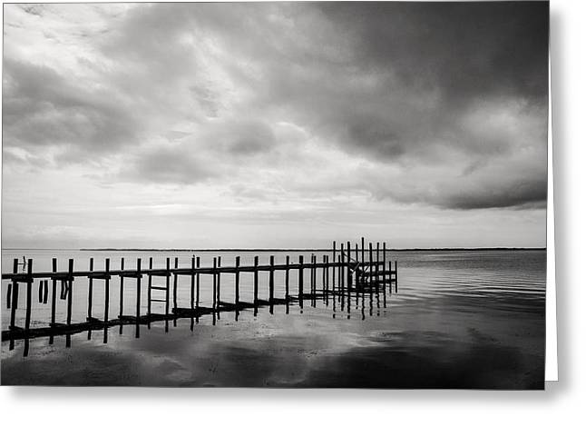 Duck Pier In Black And White Greeting Card