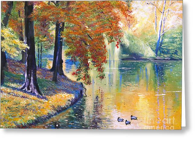 Duck Pond Greeting Card by David Lloyd Glover
