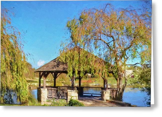 Duck Pond Gazebo At Virginia Tech Greeting Card