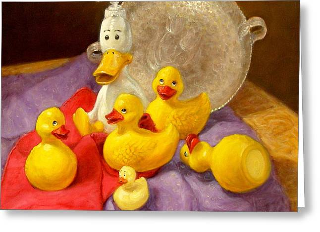 Greeting Card featuring the painting Duck Soap by Donelli  DiMaria
