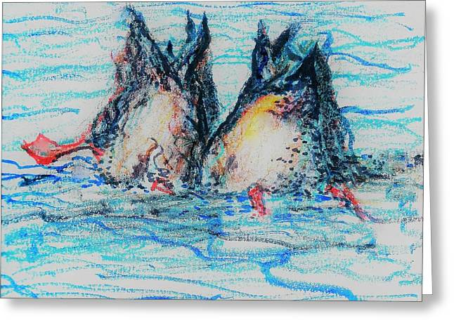 Greeting Card featuring the mixed media Duck Tails by Denise Fulmer