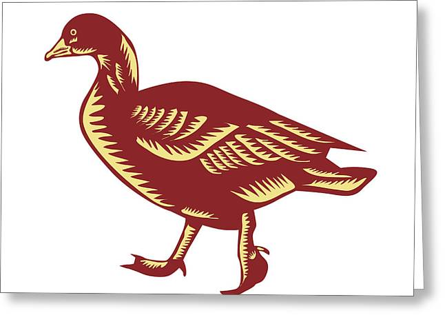 Duck Walking Side Woodcut Greeting Card by Aloysius Patrimonio