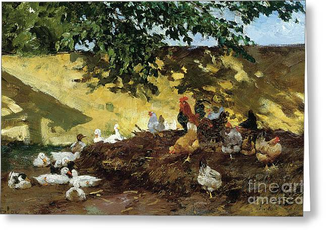 Ducks And Chickens In A Farmyard Greeting Card by Tina Blau-Lang
