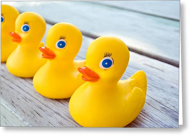 Ducks In A Row Greeting Card by Maria Dryfhout