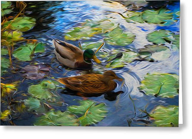 Ducks In Lily Pond Greeting Card by Lilia D
