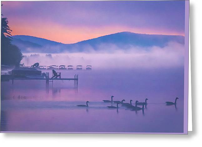 Ducks Under Fog Greeting Card