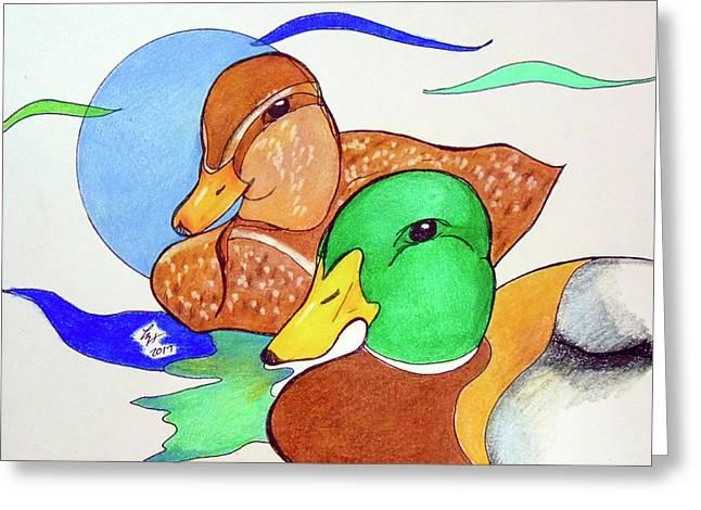 Ducks2017 Greeting Card by Loretta Nash