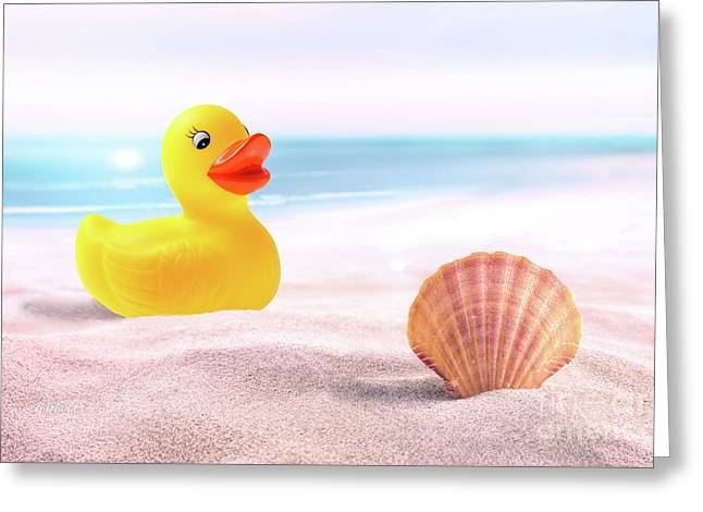 Ducky And Shell At The Beach Greeting Card by Garland Johnson