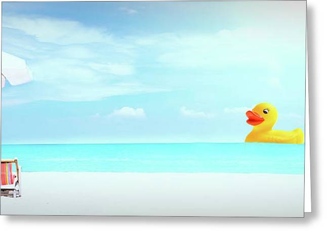 Ducky's Day At The Beach Greeting Card by Garland Johnson