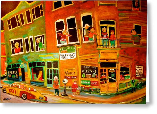 Duddy's Neighbourhood Greeting Card by Michael Litvack