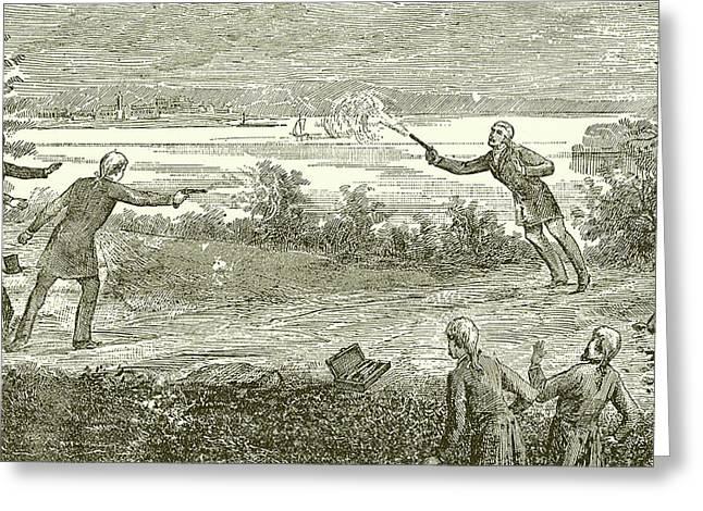 Duel Between Alexander Hamilton And Aaron Burr Greeting Card