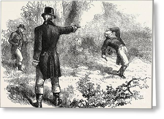 Duel Between Burr And Hamilton Greeting Card
