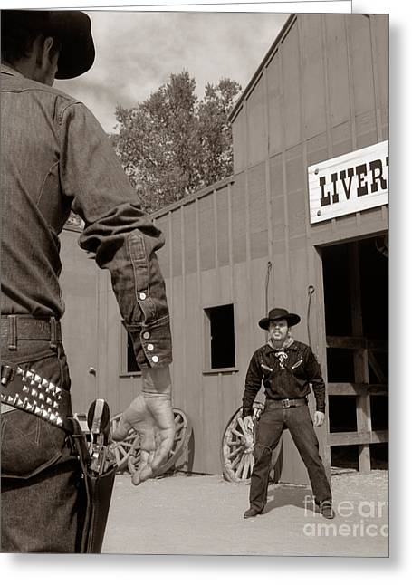 Dueling Cowboys, C.1950-60s Greeting Card